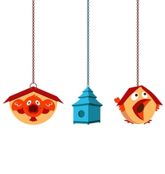 Unique bird houses vector