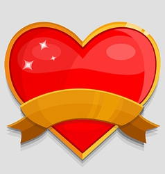 big red heart with banner vector image vector image