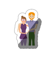 couple romantic togetherness shadow vector image vector image