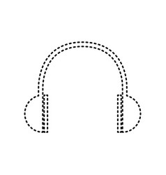 headphones sign black dashed vector image vector image
