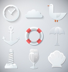 Paper Summer Sea Travel Weekend Trip Flat icon set vector image
