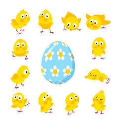 set of funny easter chickens and egg vector image