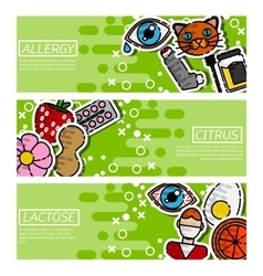 Set of Horizontal Banners about allergy vector image vector image