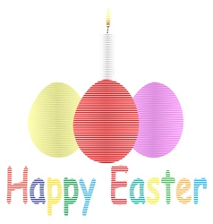Striped easter eggs and candle vector image vector image