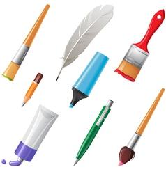 writing tools set vector image vector image