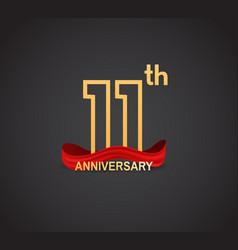 11 anniversary logotype design with line golden vector