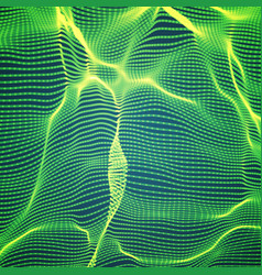 abstract green wave mesh background vector image