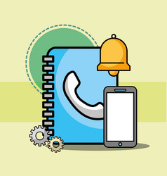 address contact book smartphone and bell customer vector image