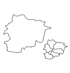 Andorra outline map administrative regions vector