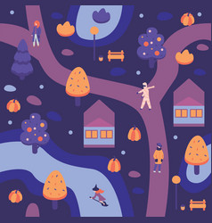 autumn halloween city vector image