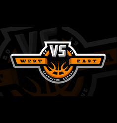 basketball vs sports logo emblem on a dark vector image