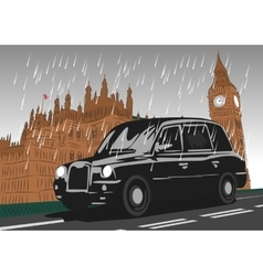 Black taxi cab moving on Westminster Bridge vector image