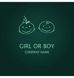 Boy or girl icon shower card with cute bird frame vector