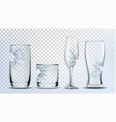 Broken and damaged glasses collection set vector