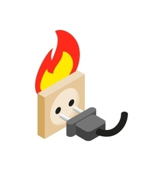 Burning socket isometric 3d icon vector image vector image