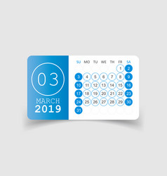 Calendar march 2019 year in paper sticker with vector