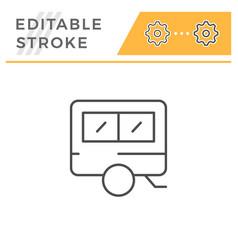 camper editable stroke line icon vector image