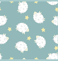 cartoon sheep seamless pattern vector image