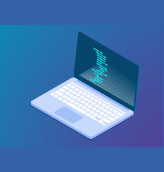 Coding with laptop isometric vector