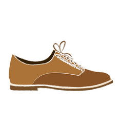 Color sketch of male leather shoe with shoelaces vector