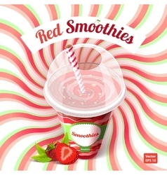 Conceptual poster red smoothies in plastic cup vector