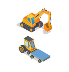 construction machines excavator and transport vector image