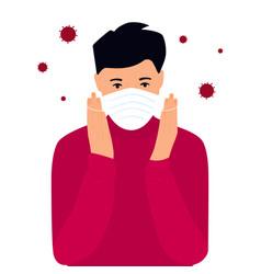 covid19-19 coronavirus symptoms the guy puts vector image