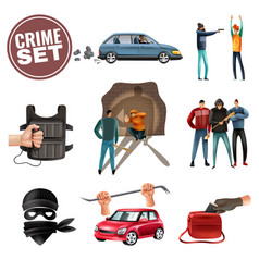 Crime violence aggression icons set vector