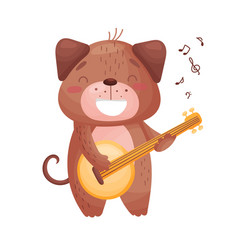 Cute dog with a guitar on vector