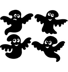 Cute ghost silhouettes vector