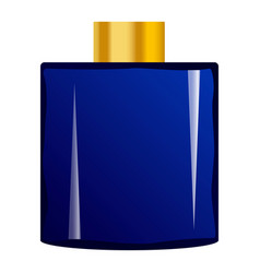 Deep blue perfume bottle mockup realistic style vector