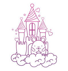 Degraded outline cute male mouse in the castle and vector