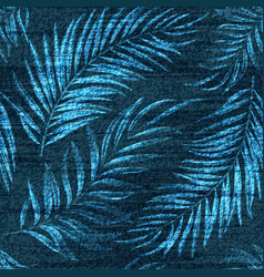 denim exotic palm leaf seamless pattern vector image