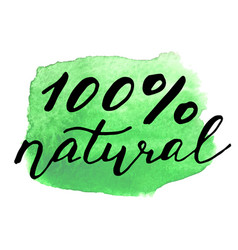 Eco bio sign on watercolor stain natural organic vector