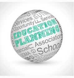 Education planning theme sphere with keywords vector