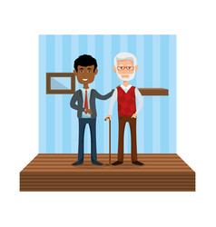 Elegant businessman with old man in the home vector