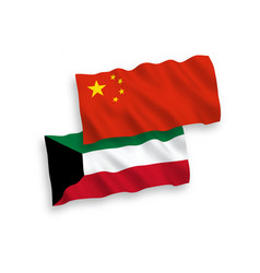 Flags kuwait and china on a white background vector