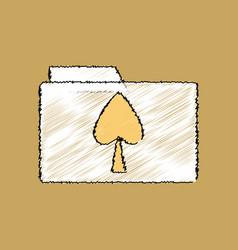 Flat shading style icon spade symbol on folder vector