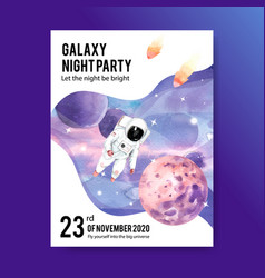 Galaxy poster design with astronaut neptune vector
