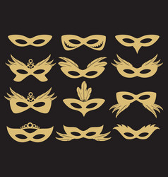 Gold carnival party face mask vector