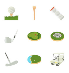 golf accessory icons set cartoon style vector image