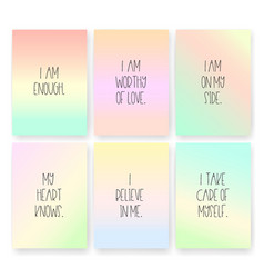 Good vibes affirmations cards of self love on vector