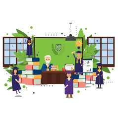 Graduation people in university office issue vector