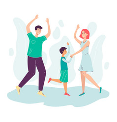 happy dancing family - father mother and son vector image