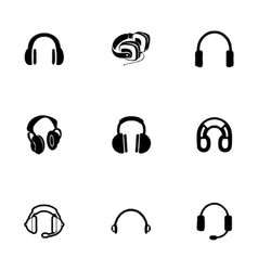 headphone icon set vector image