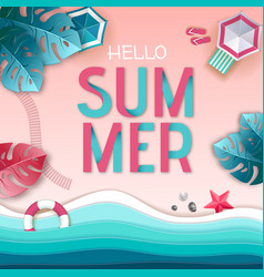 hello summer poster top view vector image