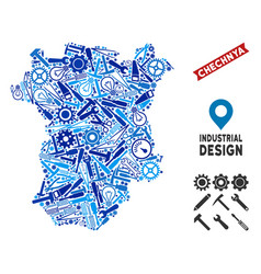 Instrument chechnya map mosaic vector