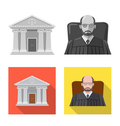 Isolated object of law and lawyer sign collection vector
