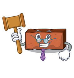 Judge brick mascot cartoon style vector