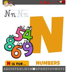 Letter n worksheet with cartoon numbers vector